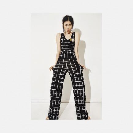 套装圆领无袖黑底白线格子背心 + 套装黑底白线格子阔腿裤长裤