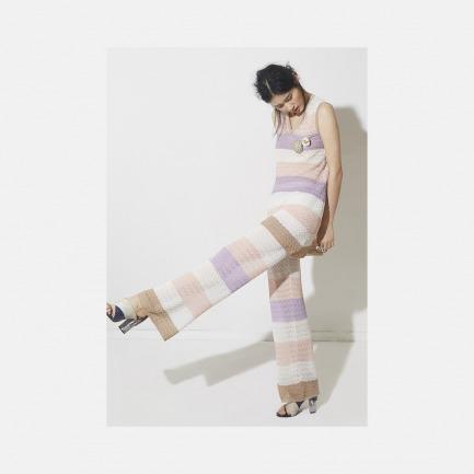 马卡龙条纹套装上衣裙 + 马卡龙条纹套装阔腿裤