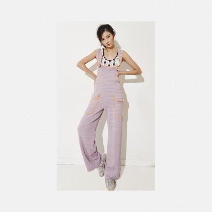 淡紫色螺纹针织连体裤