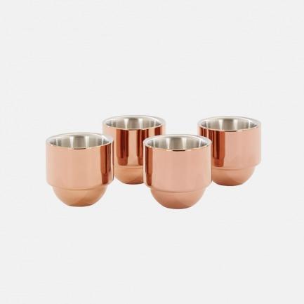 镀红铜浓缩咖啡杯×4个 | 精致套装 高光泽红铜杯面