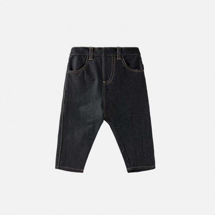 针织牛仔锥形裤(乌黑)