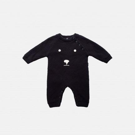 精梳棉白熊装饰毛衫连体衣(乌黑)