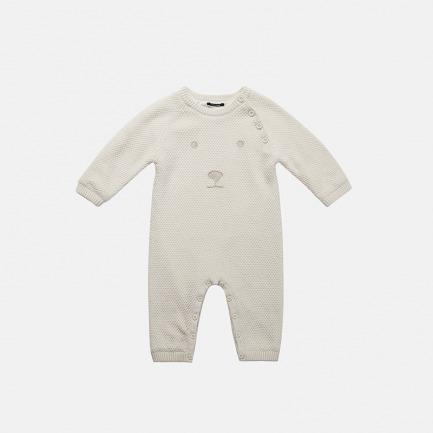 精梳棉白熊装饰毛衫连体衣(雪花白)