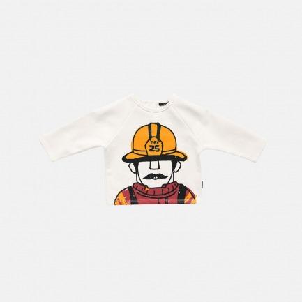 毛圈消防员印花上衣