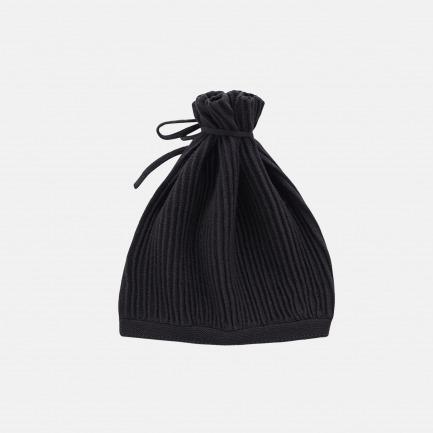 精梳棉谷波纹抽绳帽(乌黑)