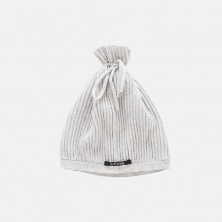 精梳棉谷波纹抽绳帽(浅灰)