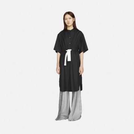 黑色衬衫式抽绳束腰长款连衣裙