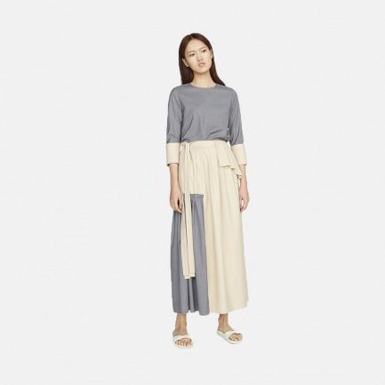米灰色拼接折袖上衣+叠褶长裙