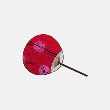 日式布面竹蒲扇 布面红色