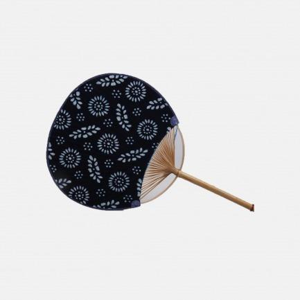 日式布面竹蒲扇 青花布