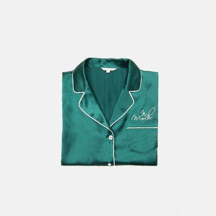 logo墨绿色真丝睡衣套装 家居服 长袖短袖
