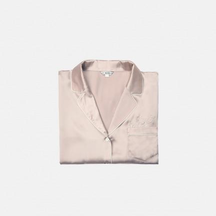 logo裸粉色真丝睡衣套装 家居服 长袖短袖