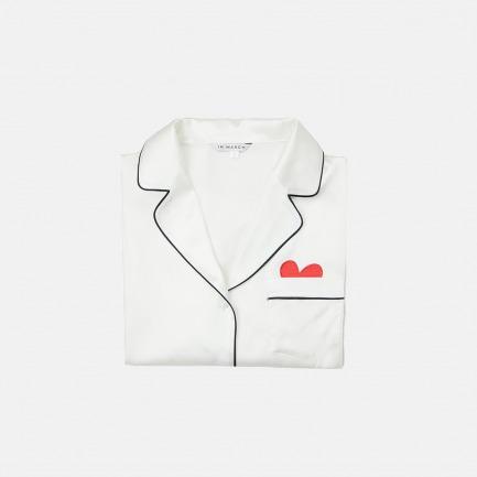 """""""爱心""""白色真丝睡衣套装 家居服 长袖短袖"""