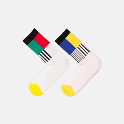文化系列彩色电视机全棉提花中长男袜