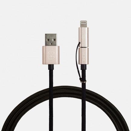 HOMI 苹果原厂认证MFI Lightning + Micro USB铝合金双用强韧加长数据线1.2米-多色