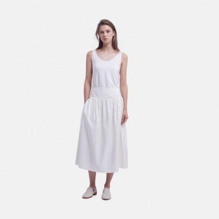 米白色罗纹桑蚕丝宽腰打褶半裙