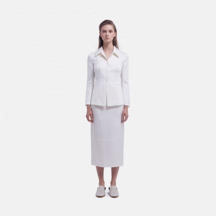 白色缎面桑蚕丝后开叉半裙