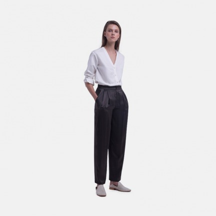 深灰色缎面桑蚕丝打褶长裤