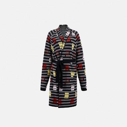 彩色格子方块针织大衣