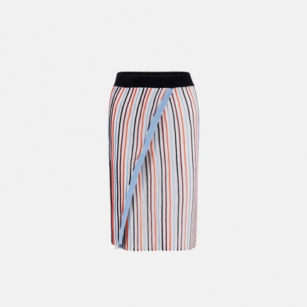 彩色竖条纹包臀裙