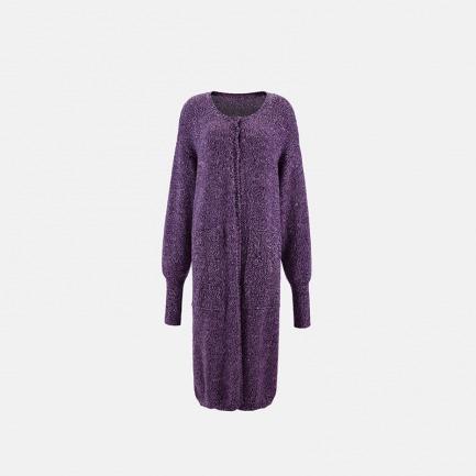 纯毛紫色花线长款大衣