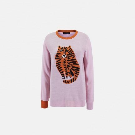 虎纹猫套头粉毛衣