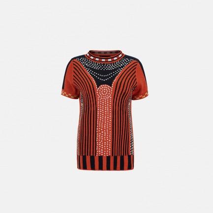 珠宝橘色半袖针织衫