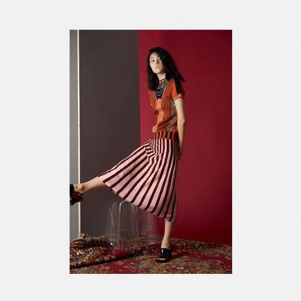 酒红粉色竖条纹半裙