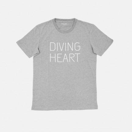 Diving Heart潜水心系列限量版T恤 灰色字母印花(男女同款)