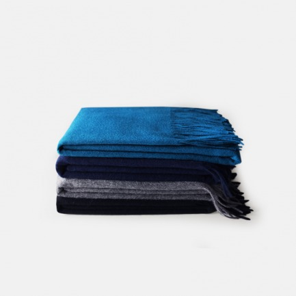 情侣款澳洲进口纯羊毛手工流苏超大加厚披肩围巾-冷色系