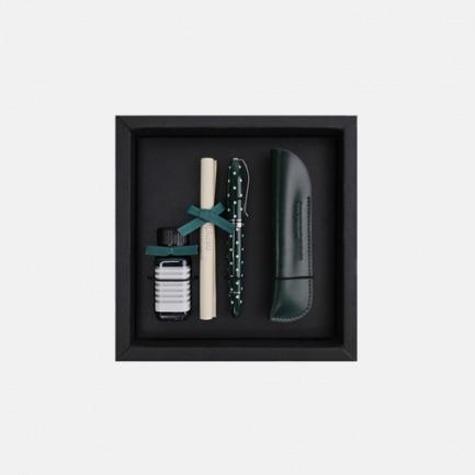 安迪系列钢笔笔套墨水礼盒 森绿圆点