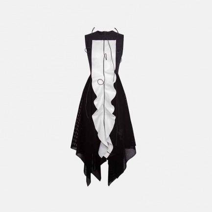 无袖拼皮羊毛连身裙
