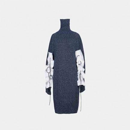 高领拼皮针织连身裙
