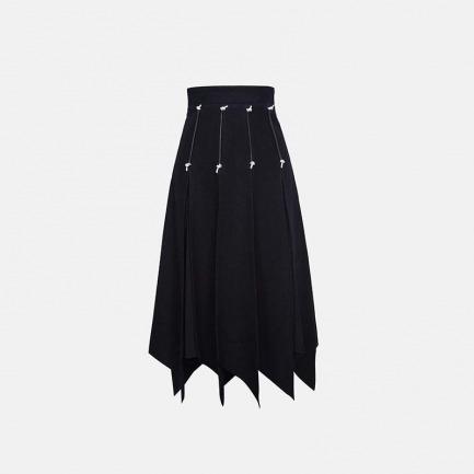 中腰羊毛伞裙 黑白拼色
