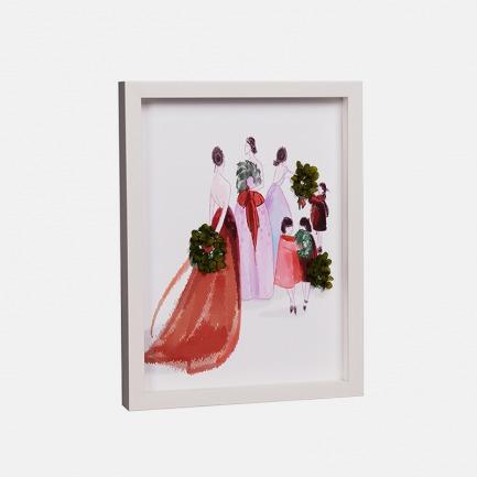 圣诞季的聚会 永生花装饰画 | 厄瓜多尔玫瑰手工制作