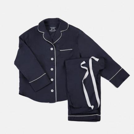 60'系列  Purplish Blue藏蓝pima美棉睡衣套装(长袖长裤套装)