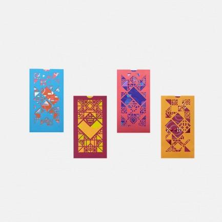 香港设计新年撞色 剪纸红包利是封 红橙款紫气东来礼盒(16个镂空信封/16个红包)