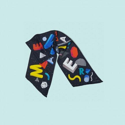 几何字母图形真丝围巾丝巾长巾 暮黑