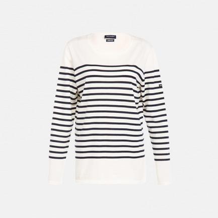 圆领纯羊毛毛衣薄款 全白底深蓝条 2599-42