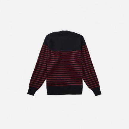圆领纯羊毛毛衣男女同款 全蓝底红条 2131-J6