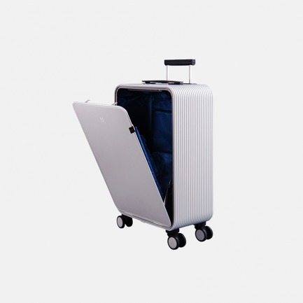 轻金属竖开合收纳登机旅行箱 安检神器 按键即开 站着就能轻松取物【钻石银20寸】