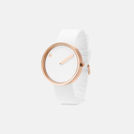 丹麦极简风潮 创意点线结合设计 白色白金款中性手表