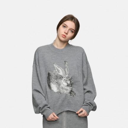 原创丢勒兔子刺绣拉链毛衣
