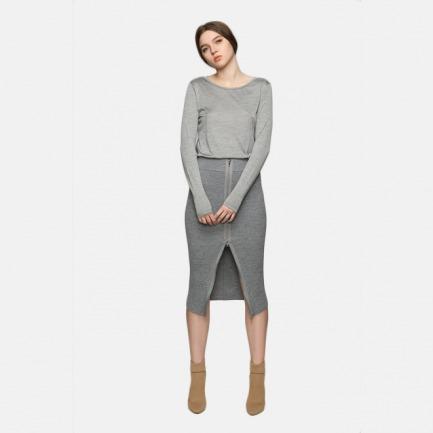 clooouds全羊毛拉链半身裙