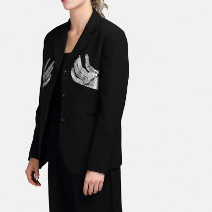 原创女士丢勒手的镜像刺绣羊毛西装