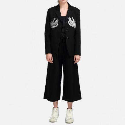 阔腿剪裁纯黑色静雅羊毛女士黑色长裤