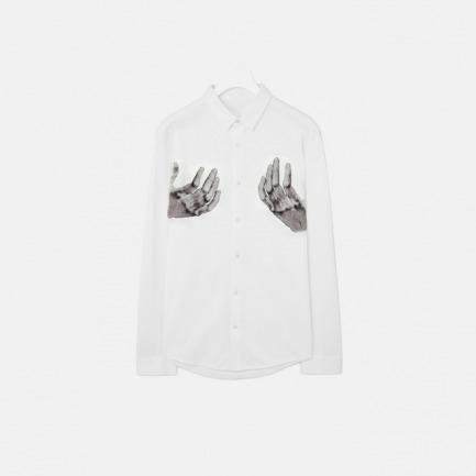 原创男士丢勒手的镜像全棉印花贴布衬衫