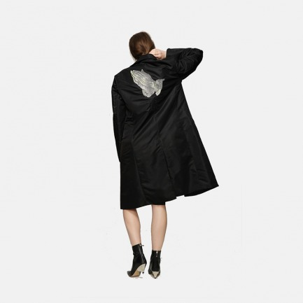 原创丢勒祈祷的手银线刺绣双面布料精致风衣男女通款