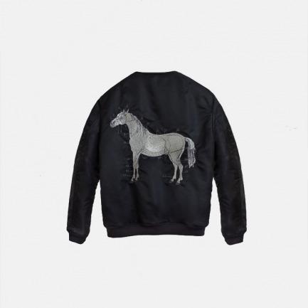 原创silver horse马银线刺绣双面布料绗棉夹克男女通款