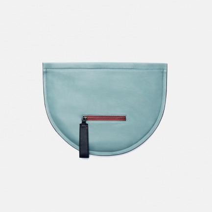 独立设计师品牌 真皮二维结构 羊皮手拿包晚宴包 薄荷蓝撞色